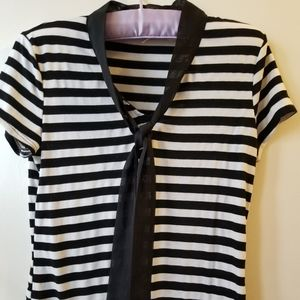 Suzy Shier Black and White Stripe Tee with Tie